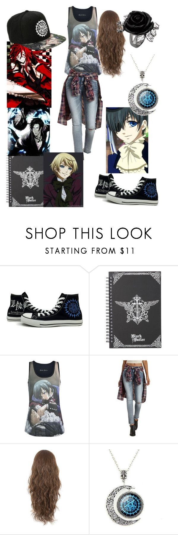 """""""black butler outfit"""" by nightmare-reaper ❤ liked on Polyvore featuring Converse, Refuge, Ciel and Sebastian Professional"""
