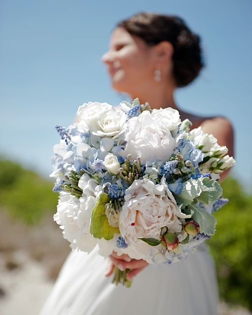 bouquet of white peonies light blue hydrangea blue
