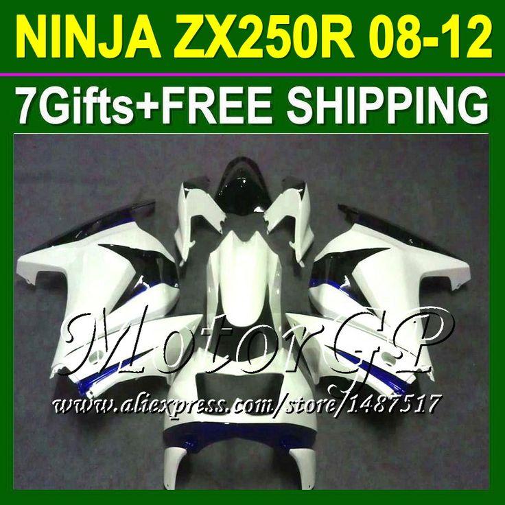 Купить товар7 подарки для Kawasaki ниндзя 250r 08 09 10 11 12 ZX250 тёмно синий ZX 250 16 # 172 2008 2009 2010 ZX250R зализа + белый в категории Щитки и художественная формовкана AliExpress.