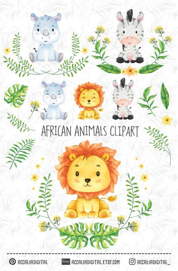 African Animals Clipart Set 1 Watercolor Animal Sticker Lion