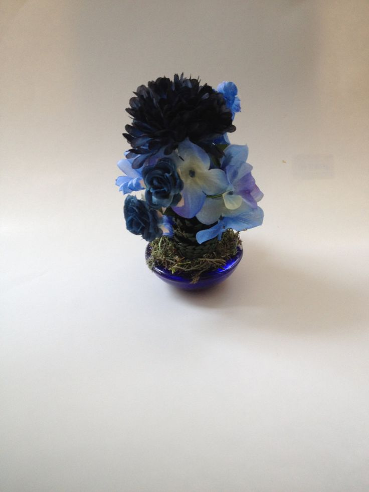 Mini Blue Flower Arrangement - 935 by EveryThingPineCone on Etsy