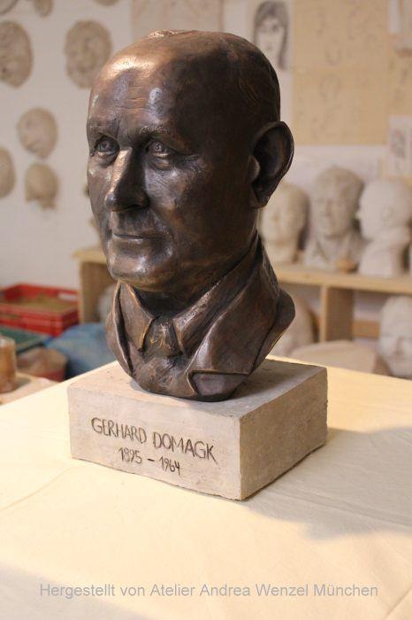 Bronzebüste des Nobelpreisträger Gerhard Domagk,gestaltet von der Bildhauerin Andrea Wenzel, München