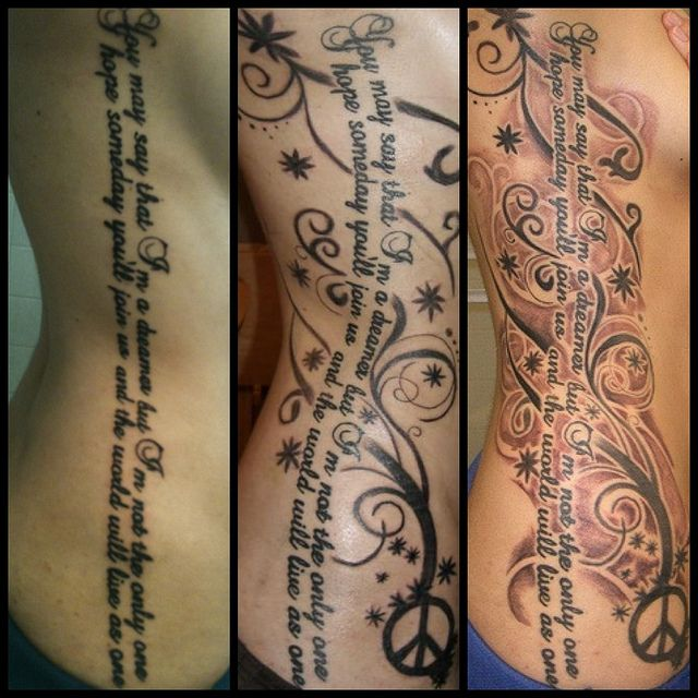 So pretty! My Rib Tattoo Progression by ~jessi_michele~, via Flickr-I love the written word in tattoos.