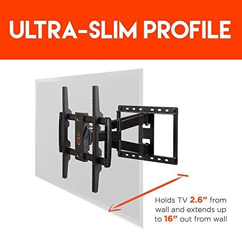 "nice ECHOGEAR Full Motion Articulating TV Wall Mount Bracket for most 37-70 inch LED, LCD, OLED and Plasma Flat Screen TVs w/ VESA patterns up to 600 x 400 - 16"" Extension - EGLF1-BK"
