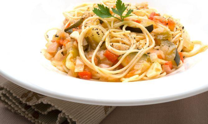 Receta de Espaguetis con pisto