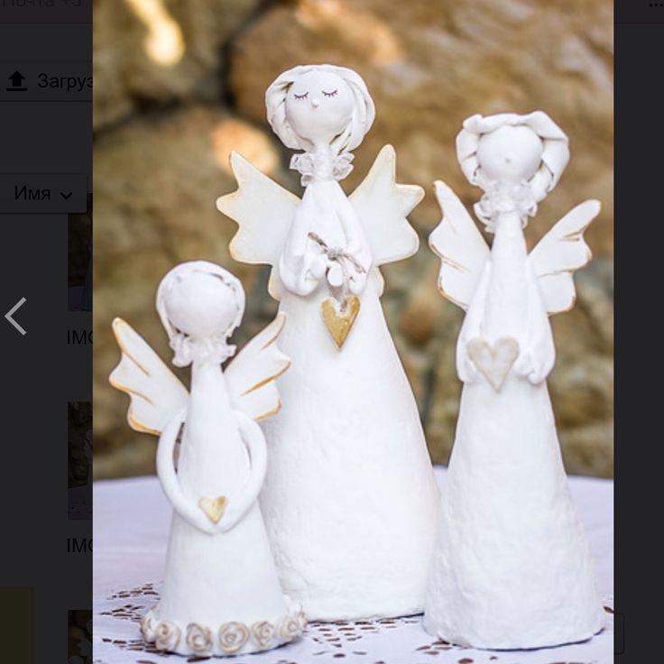 Ангелы ручной работы из папье-маше