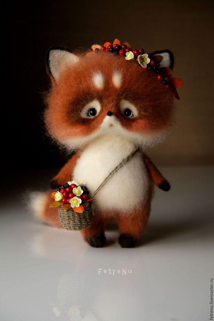 Купить Рябиновый лисёнок. Игрушка из войлока. - рыжий, лисенок с рябиной, лис из войлока, лис из шерсти