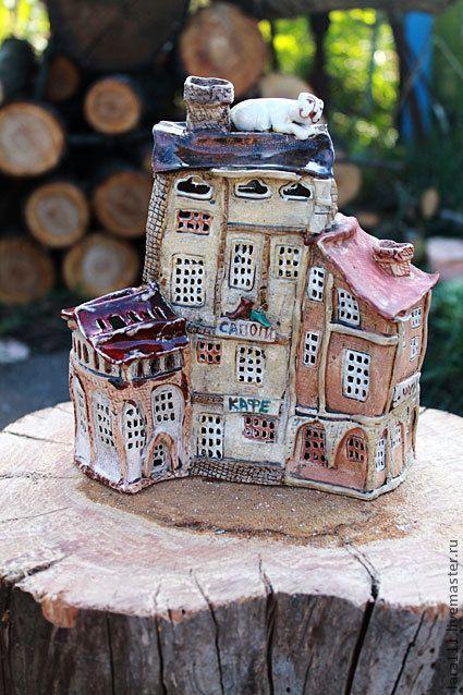 """Купить Ночник """"Домики"""" - коричневый, дом, дома, Прага, старый город, кот, белый кот"""