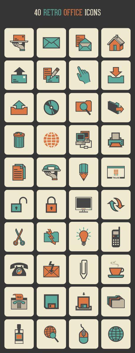 Retro Office Icon Set for free