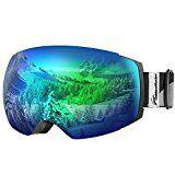 OutdoorMaster Ski Goggles PRO – Frameless, Interchangeable Lens Snow Goggles for Men & Women – 100% UV Protection ( Black Frame VLT 18% Grey Len with Full REVO Green and Free Protective Case )   Best Ski Gear