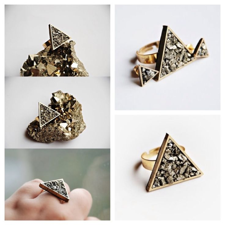 A dainty ring, featuring a golden triangle with Pyrite stones