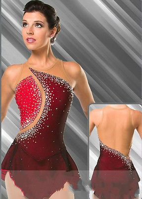 Rojo vestidos para mujeres competencia de patinaje artístico vestido de patinaje sobre hielo de encargo ropa de patinaje de alta elasticidad envío libre