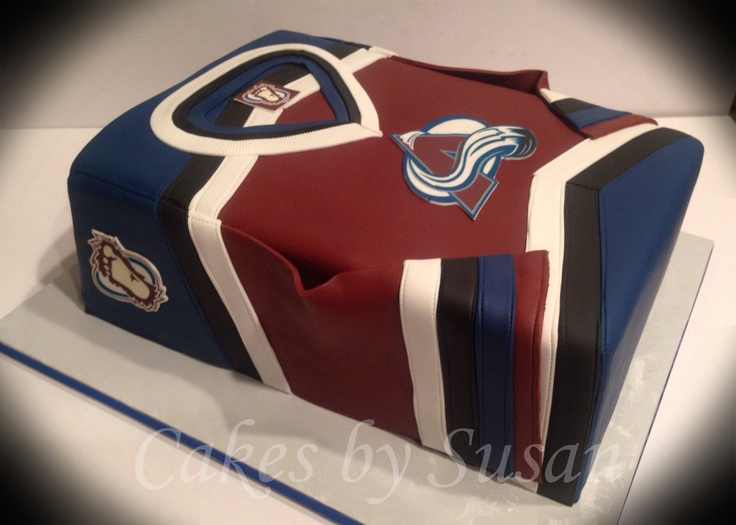 Avalanche hockey jersey cake. I don't think I would eat it, but I would love one of these!