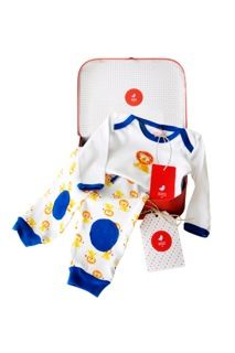 This gorgeous little boy bluebird & honey gift set includes gift cards and top and pants set.
