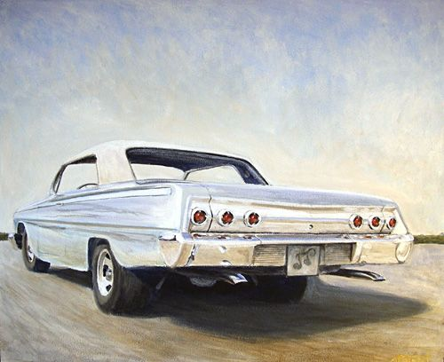 Angvert My Chev 62. Oil on plate. Ca 550 mm.