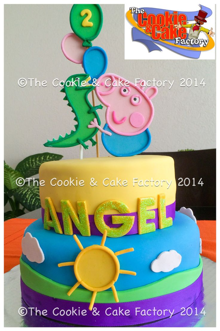 George Pig cake. Inspired on Angelo's Cake design. By The Cookie & Cake Factory