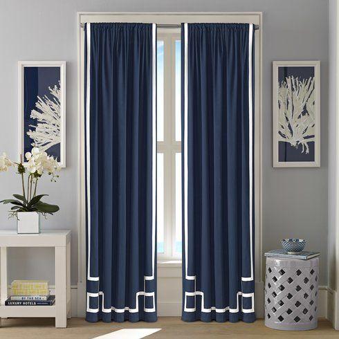 Ribbon Applique Striped Semi-Sheer Rod pocket Curtain Panel