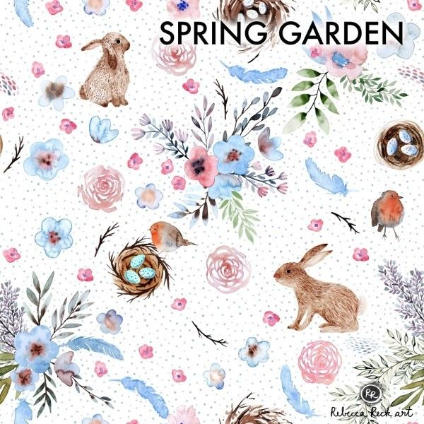 Jersey Knit Fabric - Spring Garden design with bunnies and flowers - Rebecca Reck Design printed on organic cotton knit