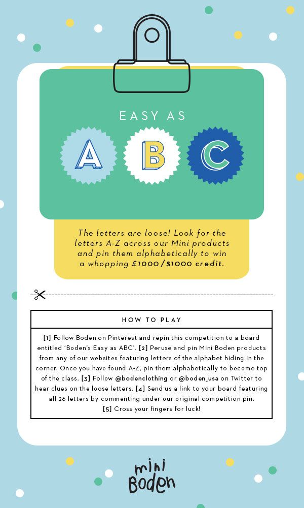 The letters are on the loose! Pin our missing A-Z (hidden on our Miniboden product pages) to win a wonderful sum of credit just in time for school. For full ts, and cs, click here > http://www.bodenusa.com/easyasabc  #Bodenbacktoschool
