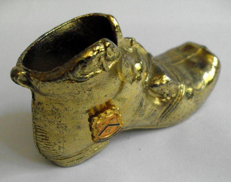 Vintage gilded metal boot match holder deskweight Stratford town emblem #10586
