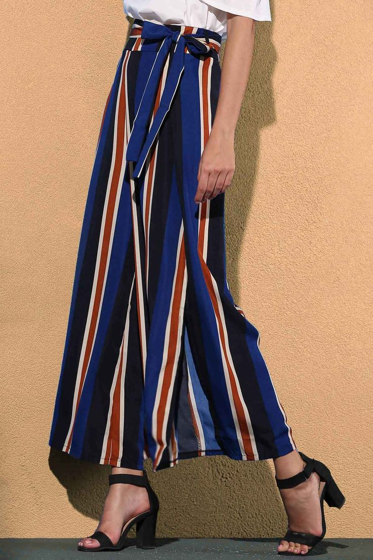 Striped Color Block High Waist Wide Leg Pant BLUE: Pants | ZAFUL