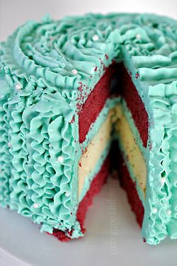red velvet / vanilla cake and turquoise frosting