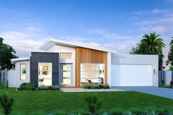 Modern Exterior Elevation With White Gray Wood Color Scheme