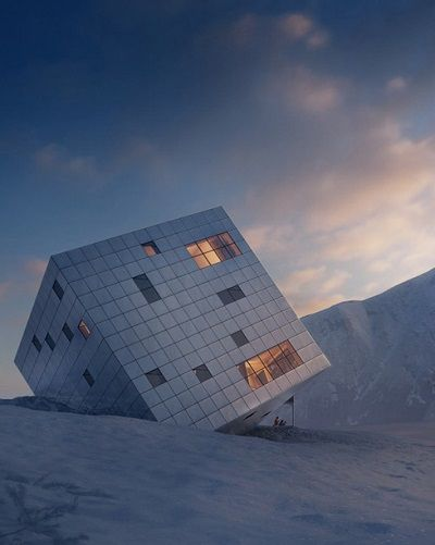 Prague firm Atelier 8000 designed this sustainable cube lodge in the High Tatra mountains of Slovakia to have three sides visible at all times, with 100% of its power being provided by square photovoltaic panels.
