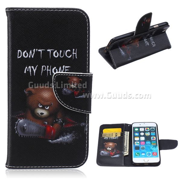 For iphone6s plus case Chainsaw Bear Leather Wallet Case for iPhone 6s Plus (5.5 inch) FREE SHIPPING