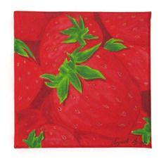 """Tableau, petite toile peinture acrylique, """"les fraises"""""""