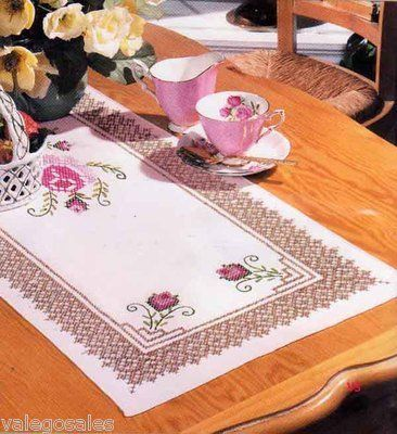 Tobin Stamped Cross Stitch kit Table Runner - Roses And Lace