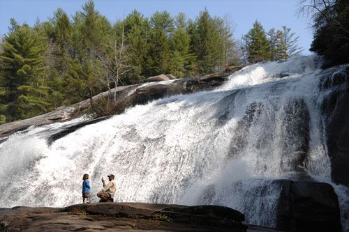 Dupont State Forest south of Asheville, NC. Hunger Games was filmed there. Lots of waterfalls.