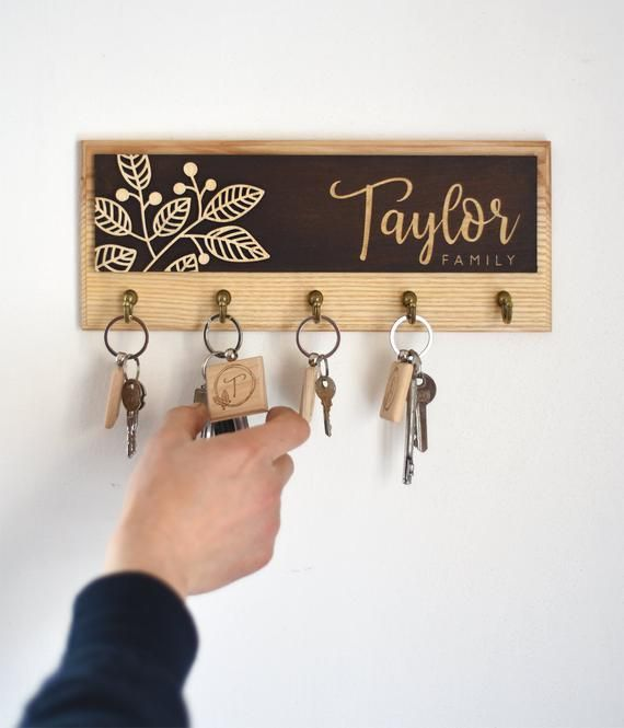 Custom Wooden Key Rack For Wall Rustic Key Hooks Entryway Decor Personalized Key Holder With Keychains Family Sign Plaque Housewarming Gift New Homeowner Gift Homeowner Gift Wall Key Holder