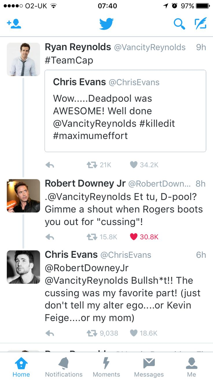 Love this Twitter feed between Chris Evans, RDJ & Ryan Reynolds #civilwar #deadpool #language