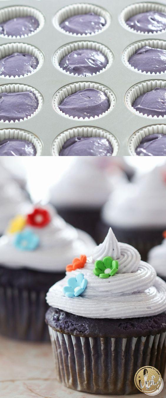 Purple Velvet Cupcakes recipe | Inspired by Charm