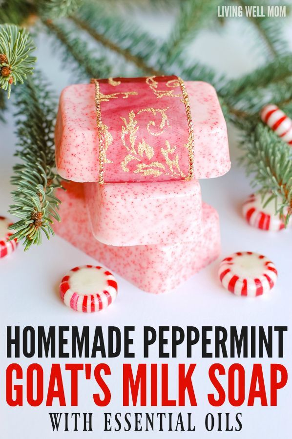 This Homemade Peppermint Goat Milk Soap uses essential oils and smells amazing. Plus it's surprisingly easy to make and is a perfect homemade gift idea!