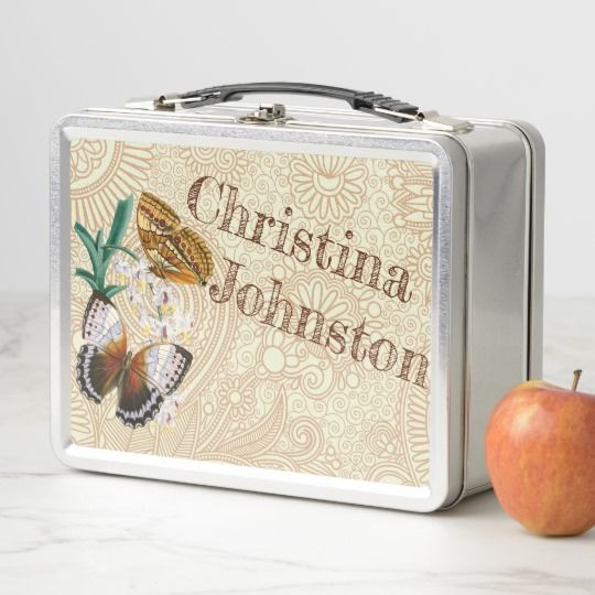 Boho Butterflies Personalized Retro Style Lunch Box