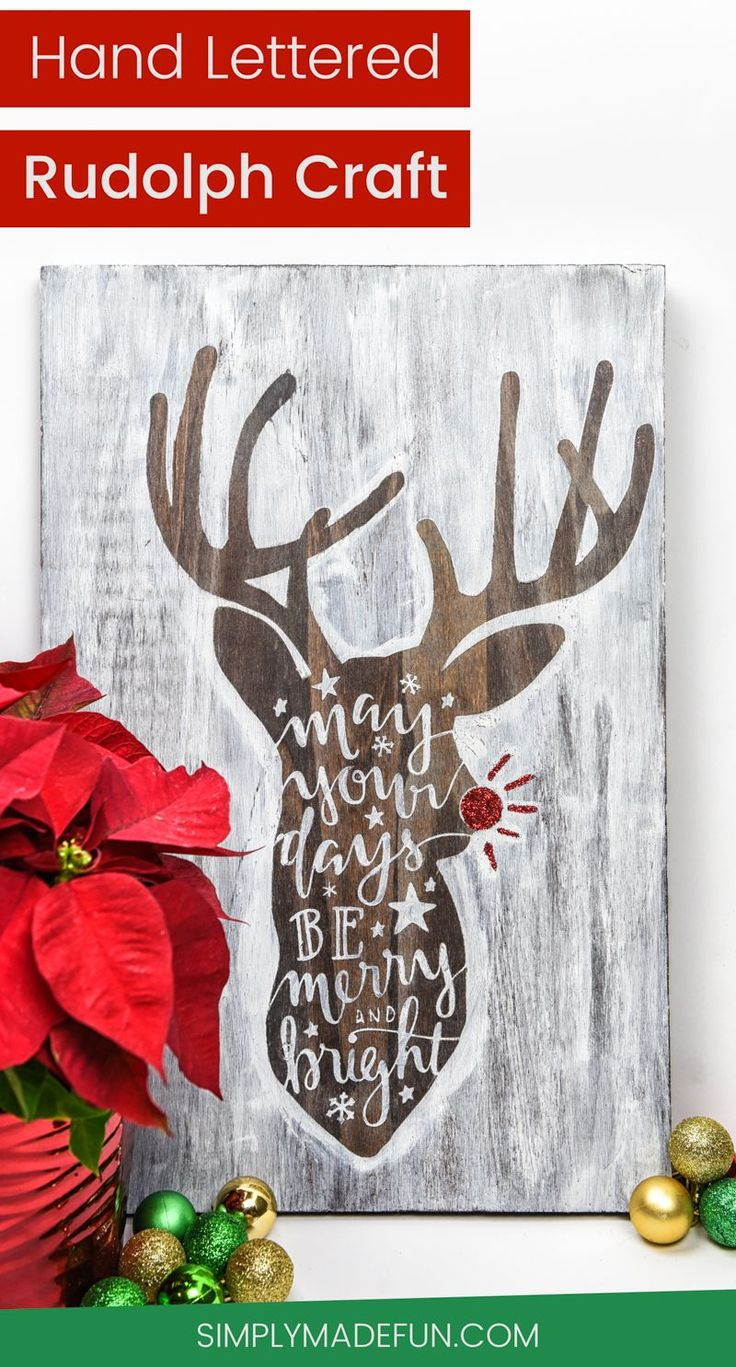 Cheap vinyl for crafts - Hand Lettered Rudolph Craft Christmas Ideas Christmas Crafts Christmas Diy Vinyl Crafts