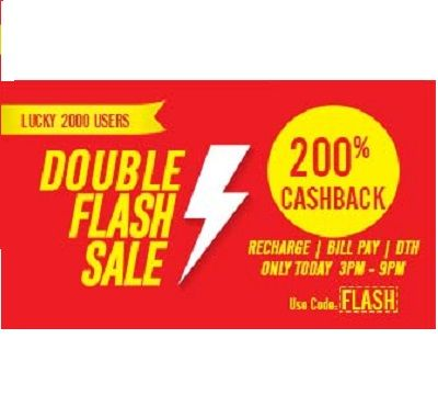 Mobikwik is offeringDoRecharge, bill pay, DTH or utility Transaction and get a chance towin 200% cashback How to catch the offer: Click here for offer page Apply offer code FLASH Valid today Onlytill 9:00 PM Maximum cashback Rs.200 Valid on MobiKwik Android or iOS App 2000 lucky users will get 200% Cashback for their Transactions
