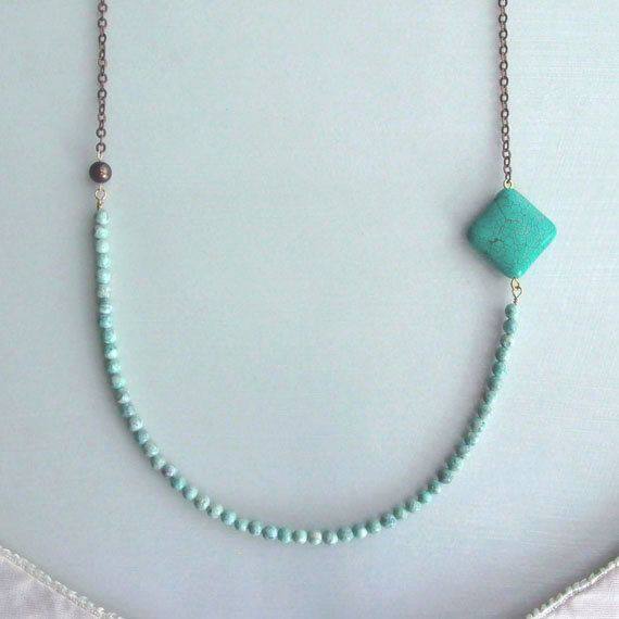 Turquoise Necklace - Diamond - Beaded - Mint Green - Anthropologie Inspired - Earthy - Organic - Boho Chic - Natural - Bib Necklace