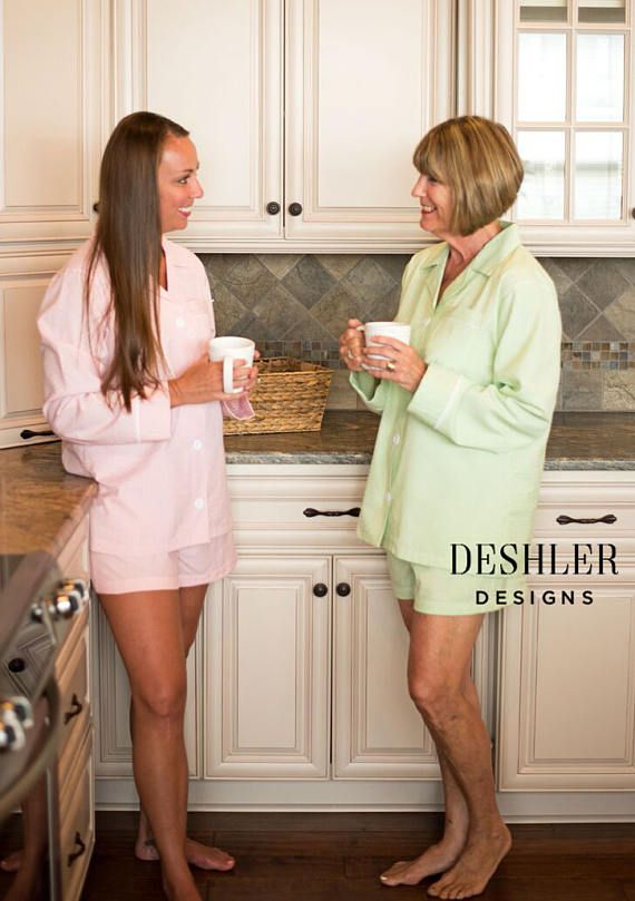 Monogrammed Seersucker Pajama SHORTS Set by Deshler Designs  Get ready to lounge in style....this Seersucker SHORTS Lounge Set is classic, comfortable and chic. Choose from PINK, BLUE, or GREEN seersucker, and add your choice of monogram color and placement! These are a standard womens fit- NOT junior fit - Elastic waist w/ white drawstring twill tape tie, standard true to size Seersucker fabric is crafted over elastic on the inside to allow seersucker to show if folded over. GREAT gift ...