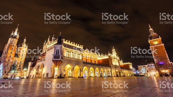 Kraków Old Town Market Square during winter night.