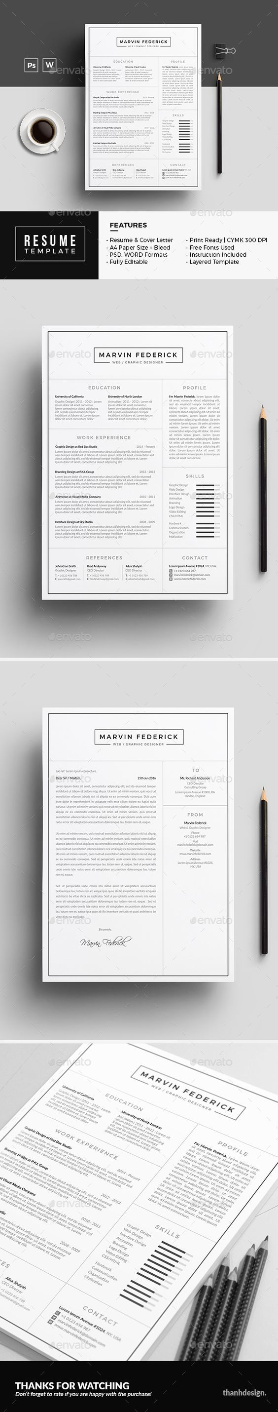 Resume / Curriculum Vitae / Design / Ideas / Inspiration / Clean / Minimalist / No Photo / Template
