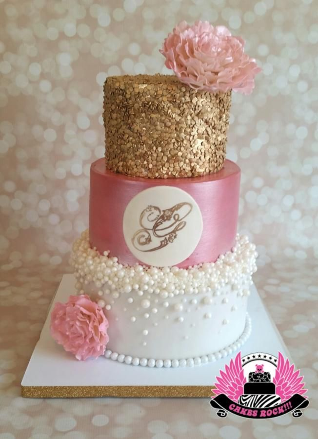 Gold Pearls And Pink Baby Shower By Cakes Rock Cakes Cake