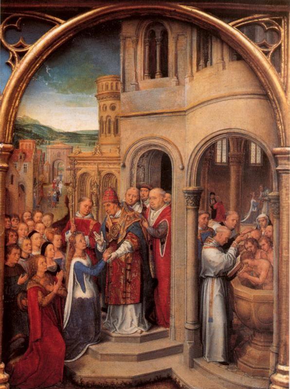 Ганс Мемлинг (нем. Hans Memling, 1433-1494). Прибытие в Рим. Ursulaschrein 1489 (Брюгге, Memlingmuseum)