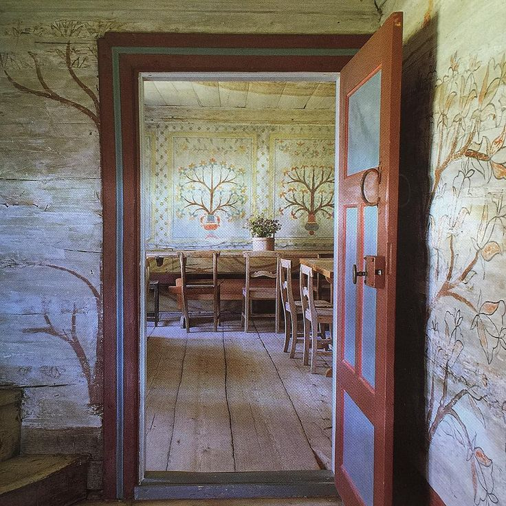 Inspired by Swedish painting tradition...Masmastaregarden, now part of a local museum in Jarbo, is decorated in a popular Tree-of-Life motif. Source/ The Swedish Room by Lars Sjoberg and Ursula Sjoberg #swedishstyle  #swedishdesign