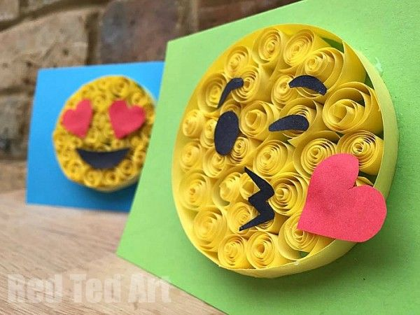 Paper Quilling for Kids and Beginners - Emoji Greeting Card