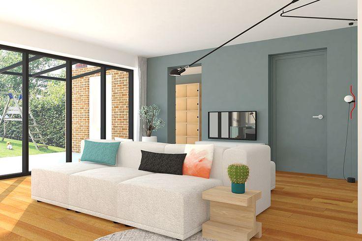 Moderne woonkamer met elementenbank in grijs en petrol tinten   Styling Adrianne van Dijken Interieuradvies