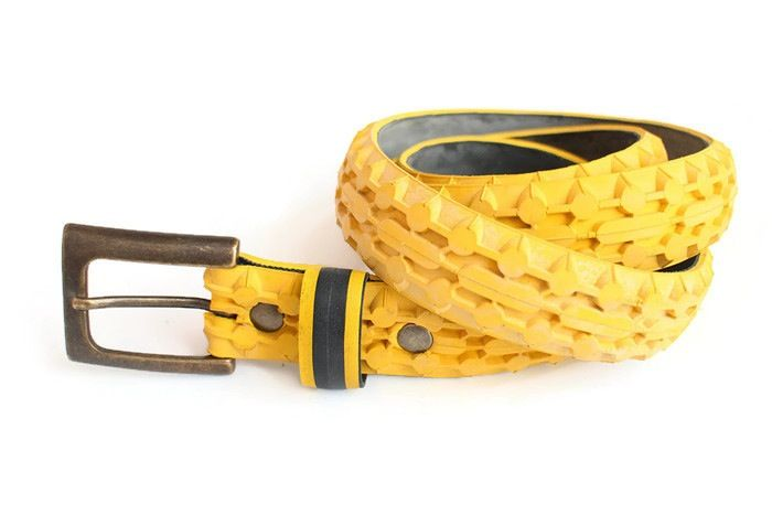 Upcycled yellow textured tyre belt by Laura Zabo