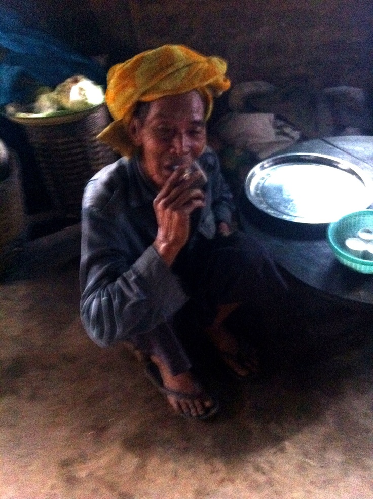 Old man in mountain village Myanmar north